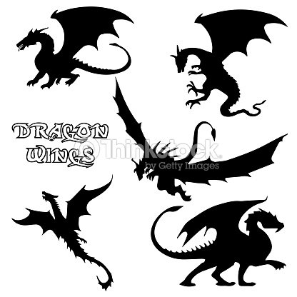 Black Stylized Vector Illustrations Of Dragons Silhouettes Symbol In