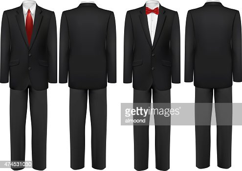 Black Suit And White Shirt With Butterfly And Tie Vector Vector ...
