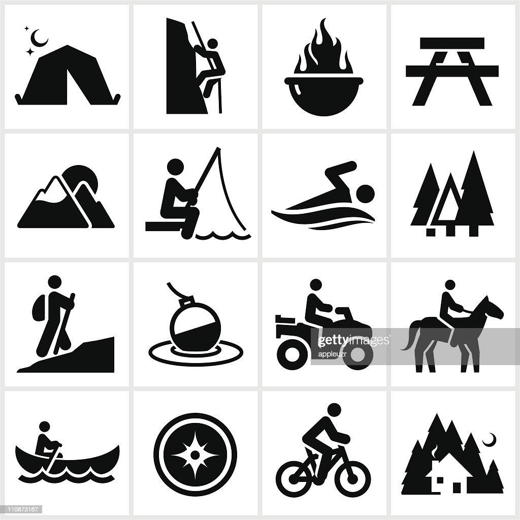 Black Summer Recreation Icons : Vector Art