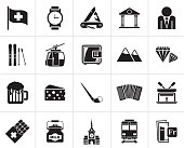 Black Switzerland industry and culture icons  - vector icon set