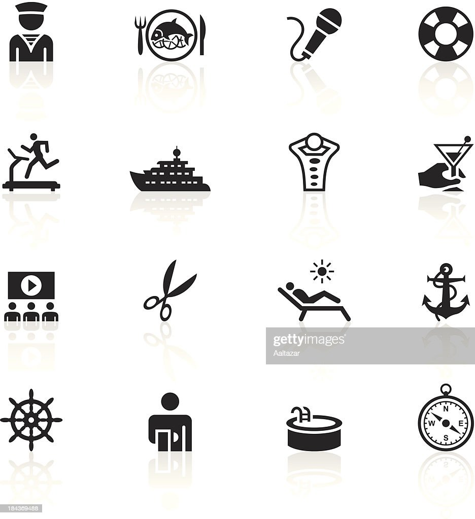 black symbols cruise ship vector art getty images