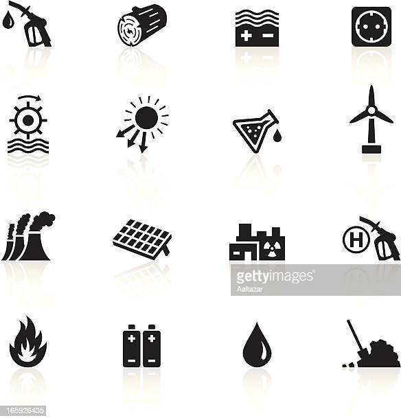 Negro símbolos de las fuentes de energía