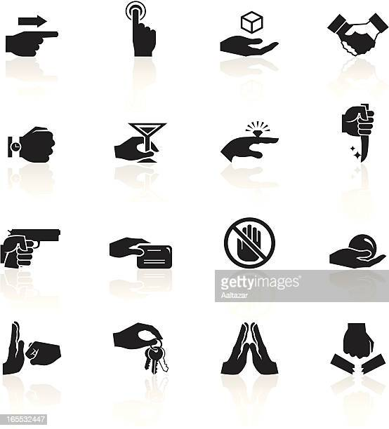 Black symbols of hands doing various things