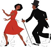 African-American couple dressed in retro style clothes dancing tap dance, music notes flying from under their feet, vector illustration, EPS 8