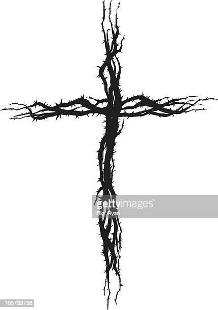Black thorn cross against white background