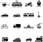 Black transportation set icon vector illustration design elements.File contain EPS8 and large JPEG