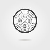 black tree rings icon with shadow. concept of saw cut tree trunk, forestry and sawmill. isolated on white background. design trendy modern vector illustration