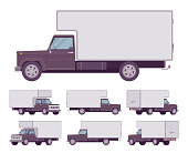 Black truck set. Large, heavy motor vehicle for transporting goods, powerful car for long distance travel. Vector flat style cartoon illustration isolated on white background, different positions