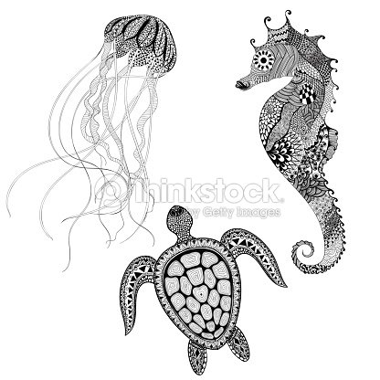 Black Turtle Sea Horse And Jellyfish Hand D stock vector