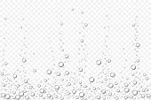 Vector black underwater air bubbles texture isolated on light transparent background. Fizzing bubbles in aquarium, champagne or effervescent drink. 3d transparent realistic oxygen gas bubbles.