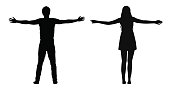 Black vector silhouettes of woman and man standing with spread arms isolated on white background.