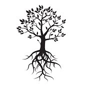Black tree with leafs and roots. Vector Illustration.
