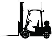 Black warehouse forklift. Side view. Warehouse, delivery and transportation of goods. No people.