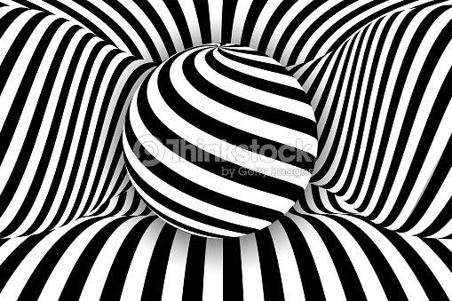 a5dd4ca604 Negro 3d Blanco Línea Ilusión De Distorsión Bola Arte vectorial ...