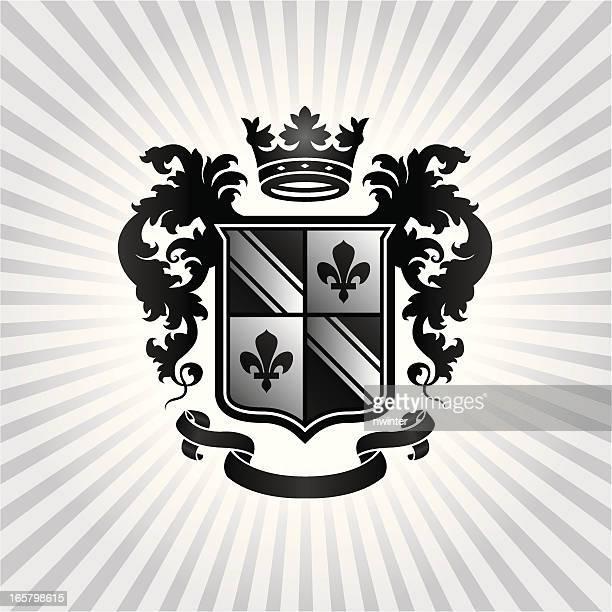 Black, white and gray Heraldic Crest