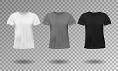 Black, white and gray realistic male t-shirt with short sleeves. Blank t-shirt template isolated. Cotton man shirt design. Vector illustration EPS 10