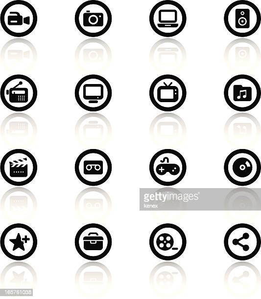 Black & White icons set | Media