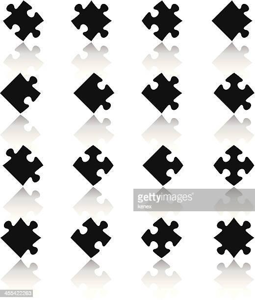 Black & White Icons Set | Puzzle Pieces
