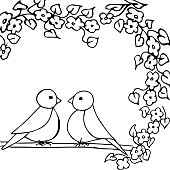 Black white vector illustration. Two little birds are sitting on a flowering branch. Template for a romantic greeting card. Coloring page.