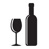 black wine bottle and glasson white, stock vector illustration