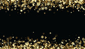 Black winter background with golden snowflakes pattern. Vector illustration.