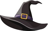 Vector black witches hat with gold buckle isolated on a white background.