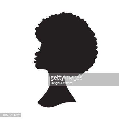 Black Woman with Afro Hair Silhouette Vector Illustration : arte vetorial