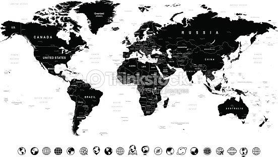 Black world map and globe icons illustration vector art thinkstock black world map and globe icons illustration vector art gumiabroncs Gallery