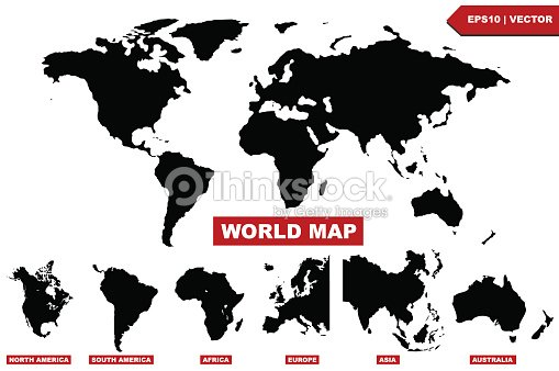 Black world map with set and silhouettes of a continents vector art black world map with set and silhouettes of a continents vector art gumiabroncs