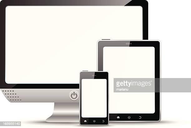 Noir-et-blanc ordinateur, tablette et smartphone