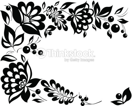 Black And White Flowers Leaves Floral Design Element In Retro Style