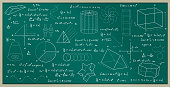 Blackboard with geometric figures and numbering formulas.
