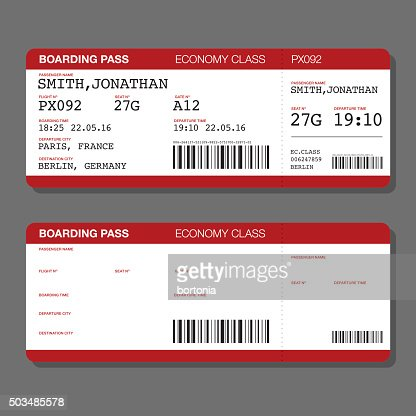 Blank Airport Boarding Pass Template Vector Art | Getty Images