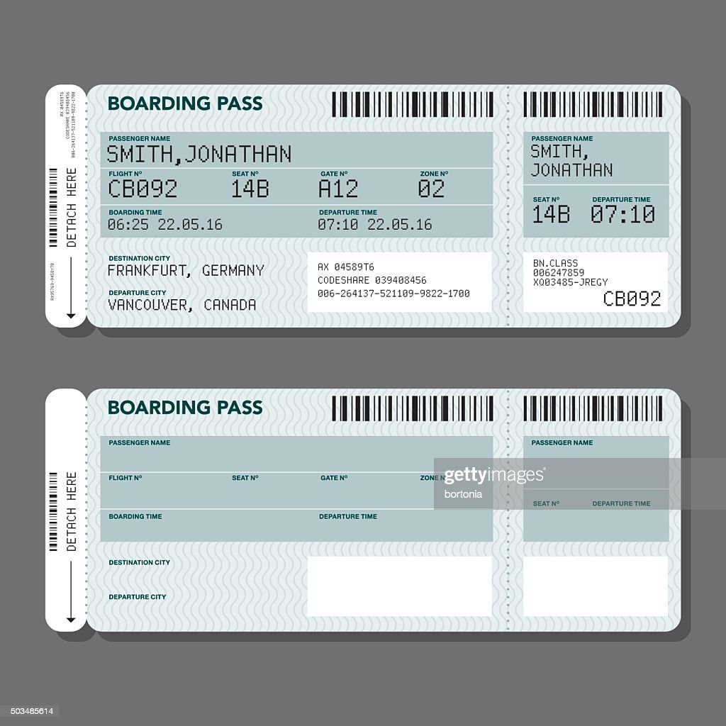 blank airport boarding pass template vector art