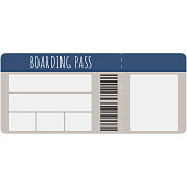 Blank boarding pass template with barcode