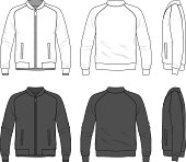 Blank men's bomber jacket with zipper in front, back and side views. Vector illustration. Isolated on white.