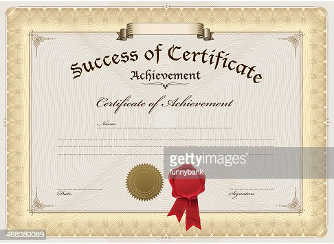 A Blank Certificate Of Achievement Vector Art | Getty Images