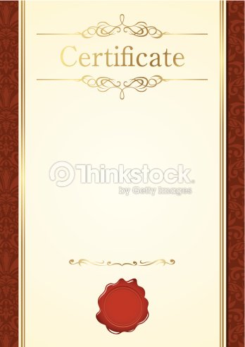 Blank Certificate With Gold Letters And Red Seal On Bottom Vector Art