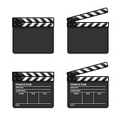 Blank Clapper Board Set on White Background. Vector illustration