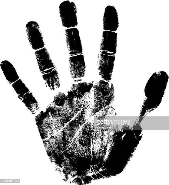 Blank, detailed, ink-like handprint