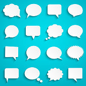 Abstract white speech bubbles set on blue background, paper art style, vector illustration