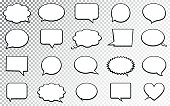 Speech Bubble Big Set. Isolated on Transparent Background. Vector Illustration.