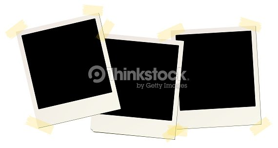 3 Blank Instant Picture Frames Affixed With Sticky Tape Vector Art ...