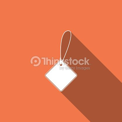 Blank Label Template Price Tag Icon Isolated With Long Shadow Empty