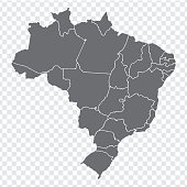 Blank map Brazil. High quality map Brazil with provinces on transparent background for your web site design, logo, app, UI. Stock vector. Vector illustration EPS10.