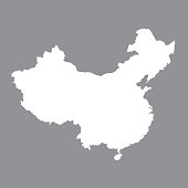 Blank map China. High quality map of  China on gray background. Stock vector. Vector illustration EPS10.