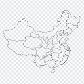 Blank map China.  Map of China with the provinces. High quality map of  China on transparent background. Stock vector. Vector illustration EPS10.