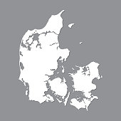Blank map Denmark . High quality map Kingdom of Denmark on gray background for your web site design, logo, app, UI. Stock vector. Vector illustration EPS10.