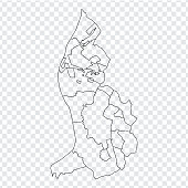 Blank map  Liechtenstein. High quality map of  Liechtenstein with provinces on transparent background for your web site design, logo, app, UI. Stock vector. Vector illustration EPS10.