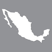 Blank map Mexico. High quality map of  Mexico on gray background. Stock vector. Vector illustration EPS10.